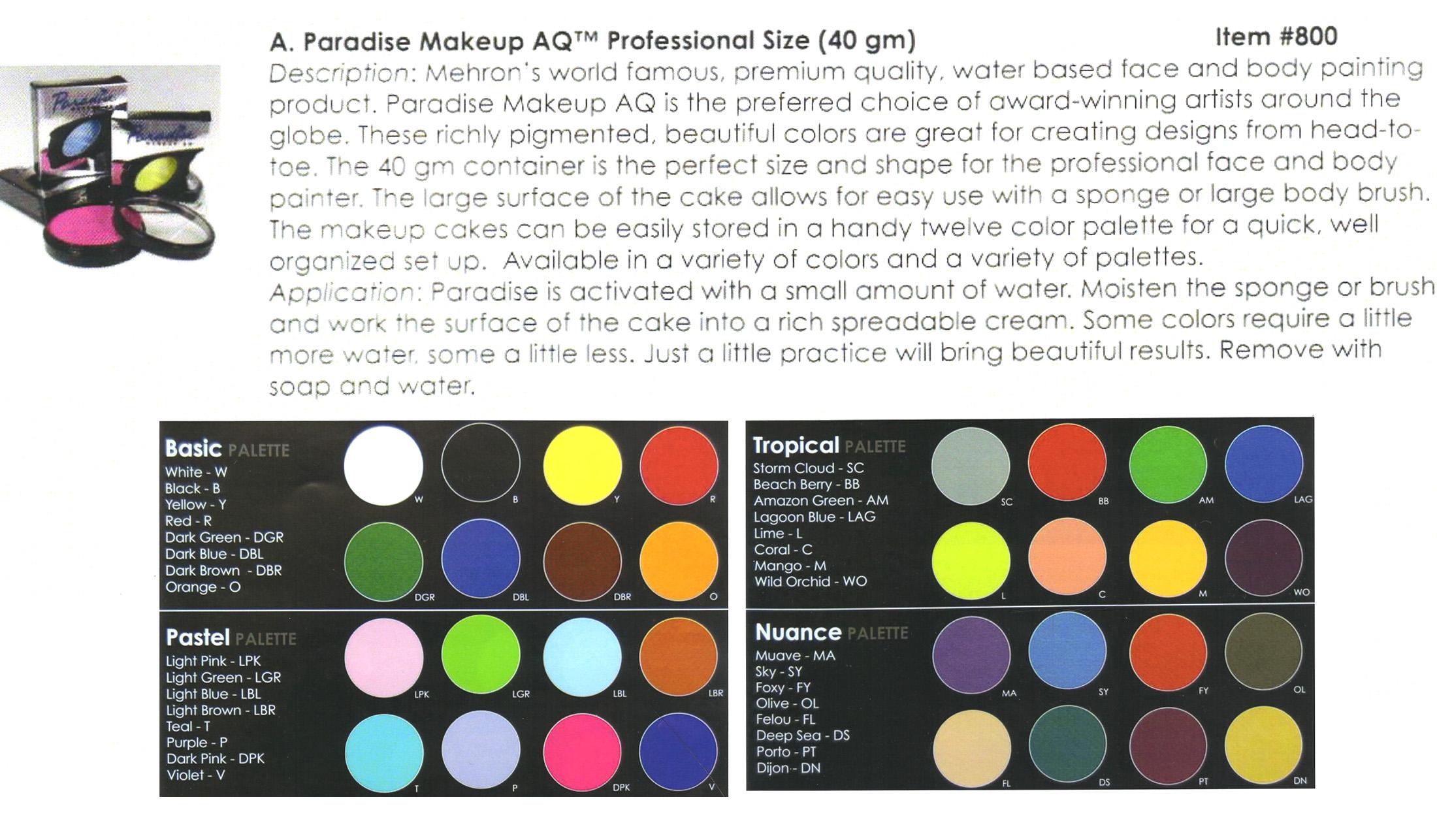 Mehron - Paradise Makeup AQ